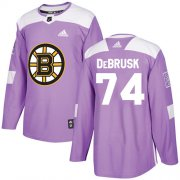 Wholesale Cheap Adidas Bruins #74 Jake DeBrusk Purple Authentic Fights Cancer Stitched NHL Jersey