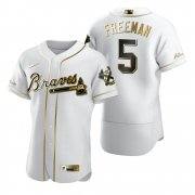 Wholesale Cheap Atlanta Braves #5 Freddie Freeman White Nike Men's Authentic Golden Edition MLB Jersey