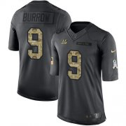 Wholesale Cheap Nike Bengals #9 Joe Burrow Black Youth Stitched NFL Limited 2016 Salute to Service Jersey