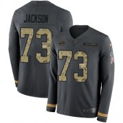 Wholesale Cheap Nike Dolphins #73 Austin Jackson Anthracite Salute to Service Men's Stitched NFL Limited Therma Long Sleeve Jersey