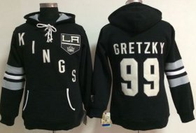 Wholesale Cheap Los Angeles Kings #99 Wayne Gretzky Black Women\'s Old Time Heidi NHL Hoodie