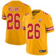 Wholesale Cheap Nike Chiefs #26 Damien Williams Gold Youth Stitched NFL Limited Inverted Legend Jersey