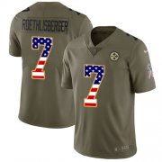 Wholesale Cheap Nike Steelers #7 Ben Roethlisberger Olive/USA Flag Youth Stitched NFL Limited 2017 Salute to Service Jersey