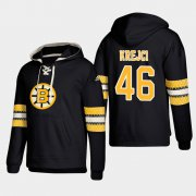 Wholesale Cheap Boston Bruins #46 David Krejci Black adidas Lace-Up Pullover Hoodie