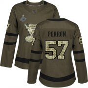 Wholesale Cheap Adidas Blues #57 David Perron Green Salute to Service Stanley Cup Champions Women's Stitched NHL Jersey