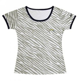 Wholesale Cheap Women\'s Nike Los Angeles Chargers Chest Embroidered Logo Zebra Stripes T-Shirt