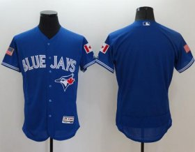 Wholesale Cheap Blue Jays Blank Blue Fashion Stars & Stripes Flexbase Authentic Stitched MLB Jersey