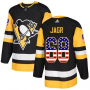 Wholesale Cheap Adidas Penguins #68 Jaromir Jagr Black Home Authentic USA Flag Stitched NHL Jersey