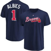 Wholesale Cheap Atlanta Braves #1 Ozzie Albies Majestic Official Name and Number T-Shirt Navy