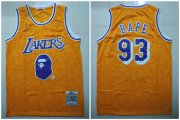 Wholesale Cheap Lakers 93 Bape Yellow 1996-97 Hardwood Classics Jersey