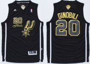 Wholesale Cheap San Antonio Spurs #20 Manu Ginobili Revolution 30 Swingman 2014 The Finals Black/Gold Jersey