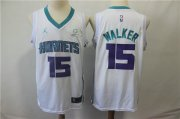 Wholesale Cheap Nike Hornets 15 Kemba Walker White NBA Jordan Swingman Jersey