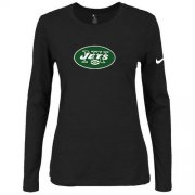Wholesale Cheap Women's Nike New York Jets Of The City Long Sleeve Tri-Blend NFL T-Shirt Black