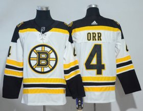 Wholesale Cheap Adidas Bruins #4 Bobby Orr White Road Authentic Stitched NHL Jersey