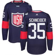 Wholesale Cheap Team USA #35 Cory Schneider Navy Blue 2016 World Cup Stitched Youth NHL Jersey