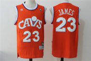 Wholesale Cheap Men's Cleveland Cavaliers 23 Lebron James Orange Hardwood Classics Swingman Jersey