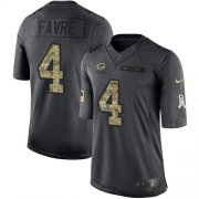Wholesale Cheap Nike Packers #4 Brett Favre Black Men's Stitched NFL Limited 2016 Salute To Service Jersey