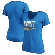 Wholesale Cheap Los Angeles Chargers Fanatics Branded Women's Kickoff 2020 V-Neck T-Shirt Powder Blue