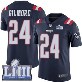 Wholesale Cheap Nike Patriots #24 Stephon Gilmore Navy Blue Super Bowl LIII Bound Men\'s Stitched NFL Limited Rush Jersey