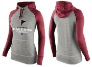Wholesale Cheap Women's Nike Atlanta Falcons Performance Hoodie Grey & Red_1