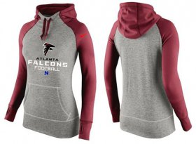 Wholesale Cheap Women\'s Nike Atlanta Falcons Performance Hoodie Grey & Red_1