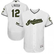 Wholesale Cheap Indians #12 Francisco Lindor White Flexbase Authentic Collection Memorial Day Stitched MLB Jersey
