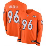 Wholesale Cheap Nike Broncos #96 Shelby Harris Orange Team Color Youth Stitched NFL Limited Therma Long Sleeve Jersey