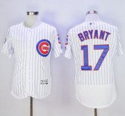 Wholesale Cheap Cubs #17 Kris Bryant White Flexbase Authentic Collection with 100 Years at Wrigley Field Commemorative Patch Stitched MLB Jersey
