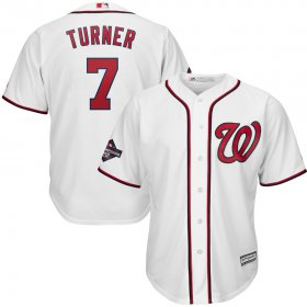 Wholesale Cheap Washington Nationals #7 Trea Turner Majestic 2019 World Series Champions Home Cool Base Patch Player Jersey White