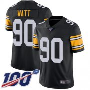 Wholesale Cheap Nike Steelers #90 T. J. Watt Black Alternate Youth Stitched NFL 100th Season Vapor Limited Jersey
