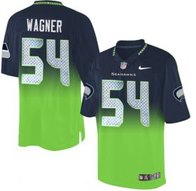 Wholesale Nike Seahawks #54 Bobby Wagner Steel Blue/Green Men\'s Stitched NFL Elite Fadeaway Fashion Jersey