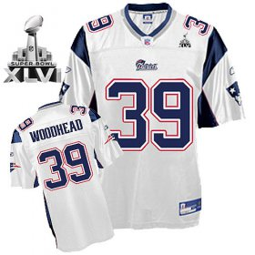 Wholesale Cheap Patriots #39 Danny Woodhead White Super Bowl XLVI Embroidered NFL Jersey