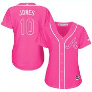 Wholesale Cheap Braves #10 Chipper Jones Pink Fashion Women's Stitched MLB Jersey