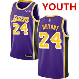 Cheap Youth Los Angeles Lakers #24 Kobe Bryant Purple Basketball Swingman Statement Edition Jersey