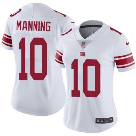 Wholesale Cheap Nike Giants #10 Eli Manning White Women\'s Stitched NFL Vapor Untouchable Limited Jersey