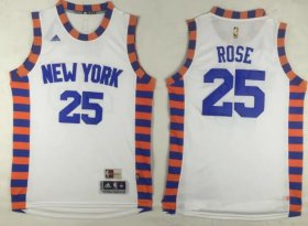 Wholesale Cheap Men\'s New York Knicks #25 Derrick Rose New White Stitched NBA Adidas Revolution 30 Swingman Jersey