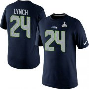 Wholesale Nike Seattle Seahawks #24 Marshawn Lynch Pride Name & Number 2015 Super Bowl XLIX NFL T-Shirt Navy Blue