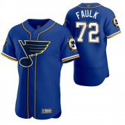 Wholesale Cheap St. Louis Blues #72 Justin Faulk Men's 2020 NHL x MLB Crossover Edition Baseball Jersey Blue