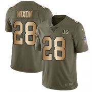 Wholesale Cheap Nike Bengals #28 Joe Mixon Olive/Gold Youth Stitched NFL Limited 2017 Salute to Service Jersey