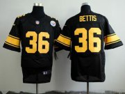 Wholesale Nike Steelers #36 Jerome Bettis Black(Gold No.) Men's Stitched NFL Elite Jersey
