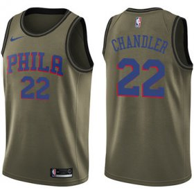 Wholesale Cheap Men\'s Philadelphia 76ers #22 Wilson Chandler Swingman Green Basketball Salute to Service Jersey