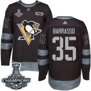 Wholesale Cheap Adidas Penguins #35 Tom Barrasso Black 1917-2017 100th Anniversary Stanley Cup Finals Champions Stitched NHL Jersey