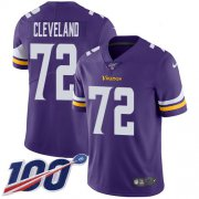 Wholesale Cheap Nike Vikings #72 Ezra Cleveland Purple Team Color Men's Stitched NFL 100th Season Vapor Untouchable Limited Jersey