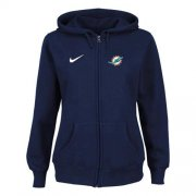 Wholesale Cheap Nike Miami Dolphins Ladies Tailgater Full Zip Hoodie Blue