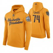 Wholesale Cheap Adidas Predators #74 Juuse Saros Men's Yellow 2020 Winter Classic Retro NHL Hoodie