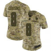 Wholesale Cheap Nike Vikings #8 Kirk Cousins Camo Women's Stitched NFL Limited 2018 Salute to Service Jersey