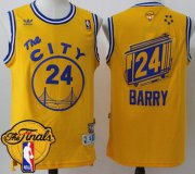 Wholesale Cheap Men's Warriors #24 Rick Barry Gold Throwback The City 2017 The Finals Patch Stitched NBA Jersey