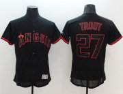 Wholesale Cheap Angels of Anaheim #27 Mike Trout Black Fashion Flexbase Authentic Collection Stitched MLB Jersey