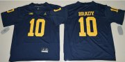 Wholesale Cheap Men's Michigan Wolverines #10 Tom Brady Navy Blue Stitched NCAA Brand Jordan College Football Jersey