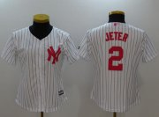 Wholesale Cheap Yankees #2 Derek Jeter White Strip Mother's Day Cool Base Women's Stitched MLB Jersey